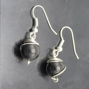 shungite-and-silver-wrapped-earrings