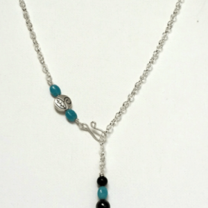 Shungite Rounds & Oval Blue Quartz Necklace