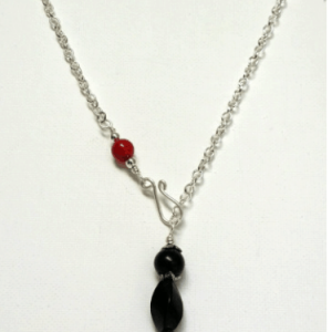 Shungite Swirl Bead & Bamboo Coral Necklace