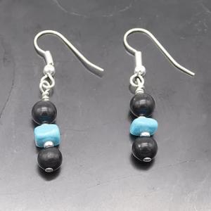 Shungite & Natural Turquoise Earrings