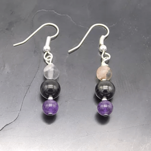 Shungite, Amethyst & Fluorite Earrings