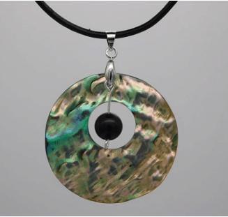 Abalone & Shungite Bead Pendant